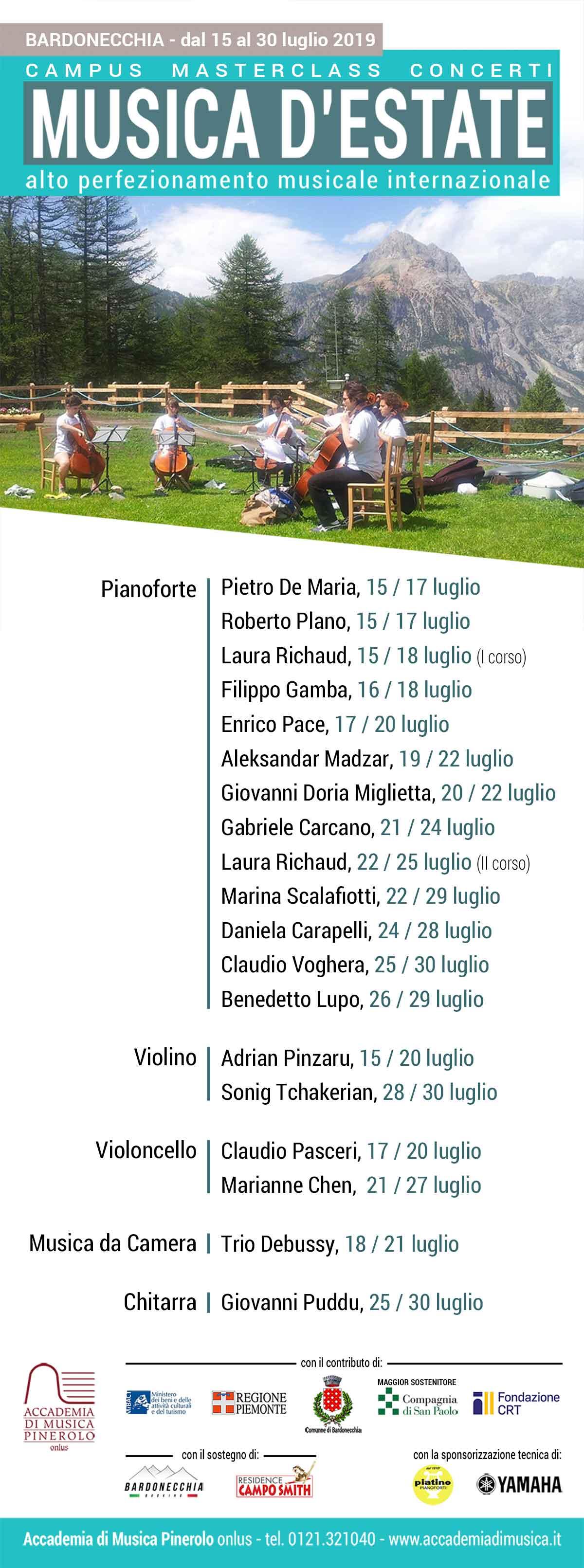 locandina con masterclass pianoforte viola violino violoncello Musica d'Estate a Bardonecchia 2019