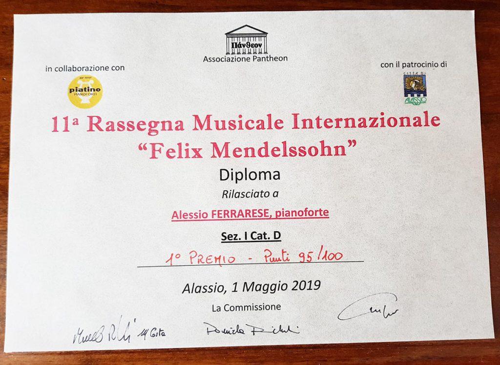 Alessio Ferrarese ha vinto il Primo Premio al Concorso Felix Mendelssohn
