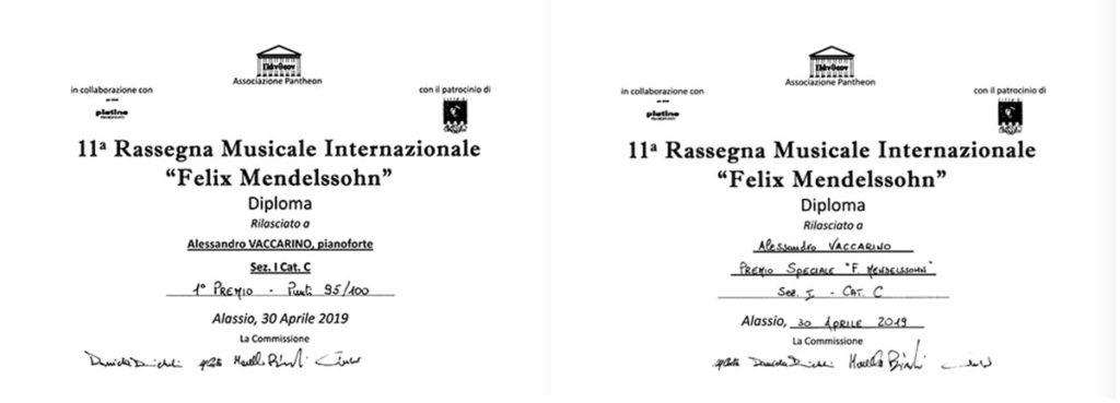 Alessandro Vaccarino ha vinto il Primo Premio e il Premio speciale al Concorso Felix Mendelssohn