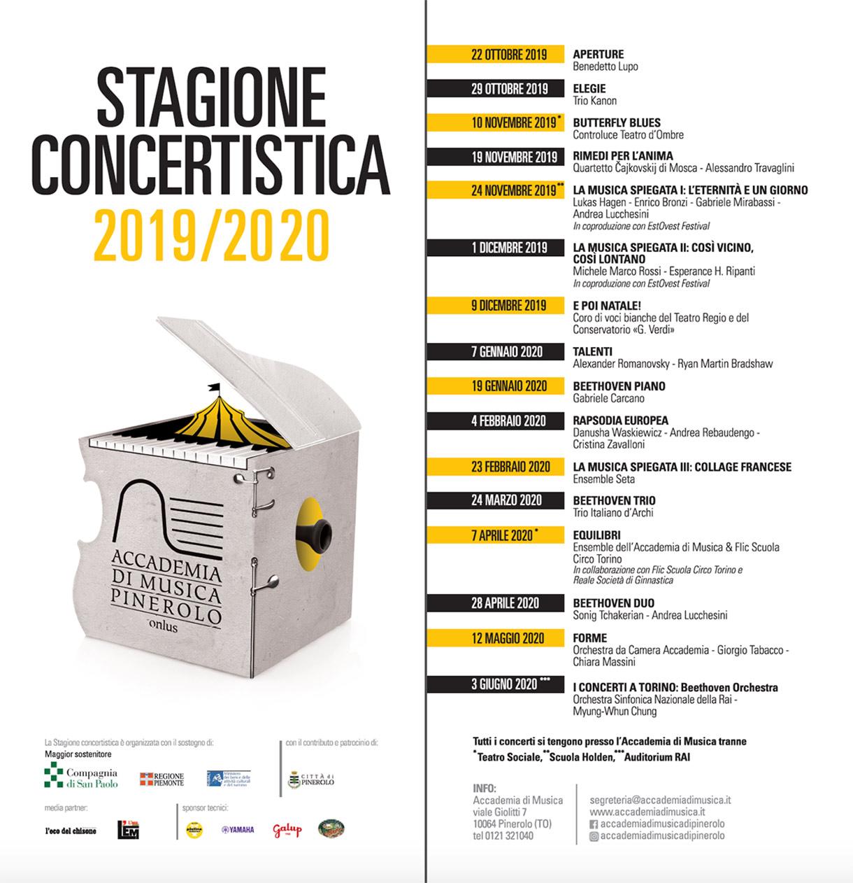 Calendario Stagione concertistica 2019/20 dell'Accademia di Musica di Pinerolo